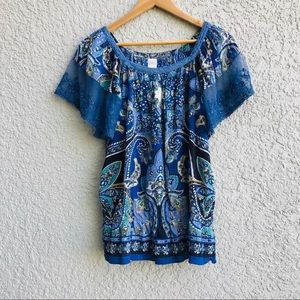 BILA lace sleeve peasant top blouse paisley blue S